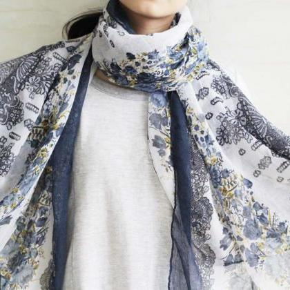 navy blue sheer cotton floral scarf..