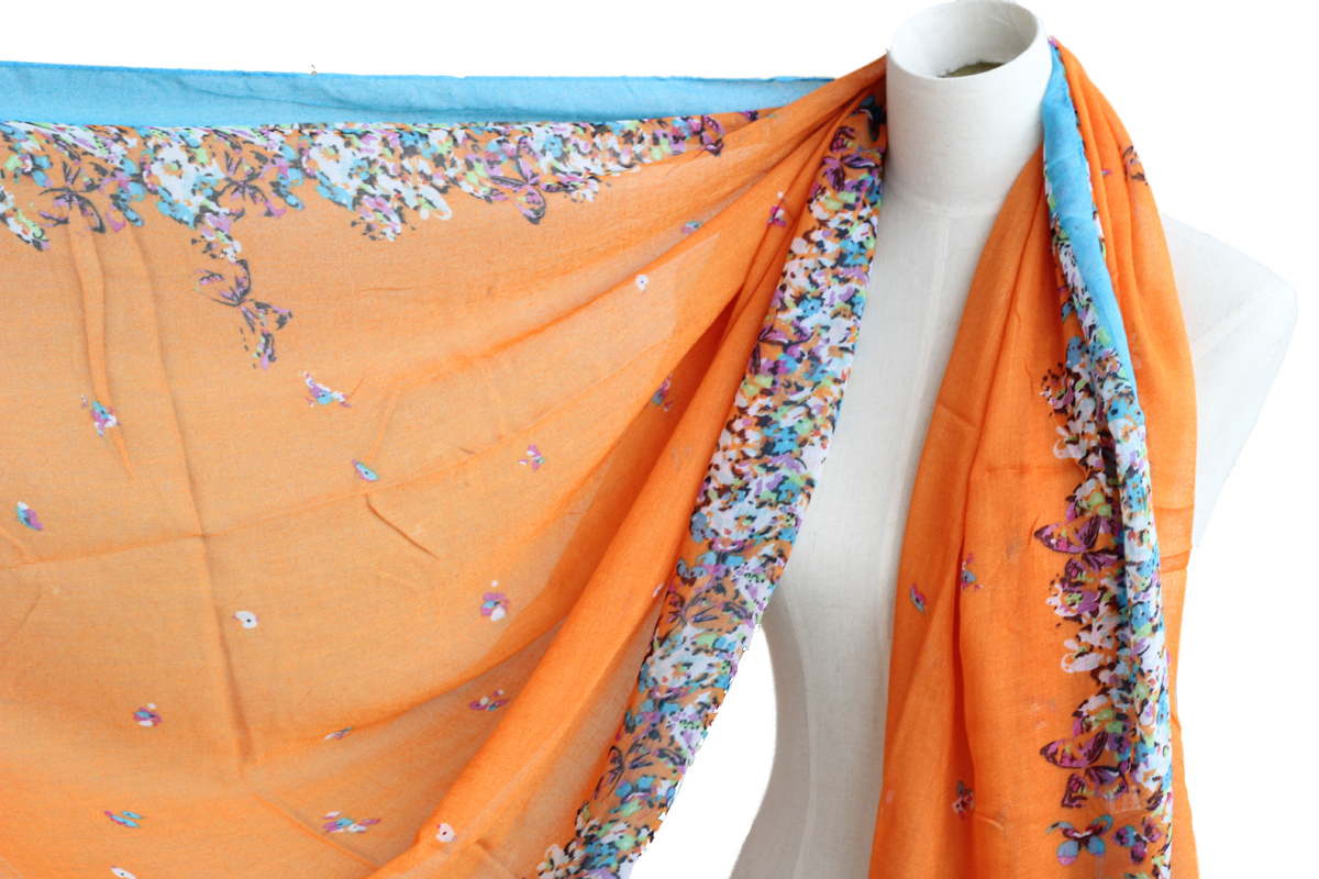 bright orange floral scarf butterfly cotton shawl oversize wrap spring summer scarves
