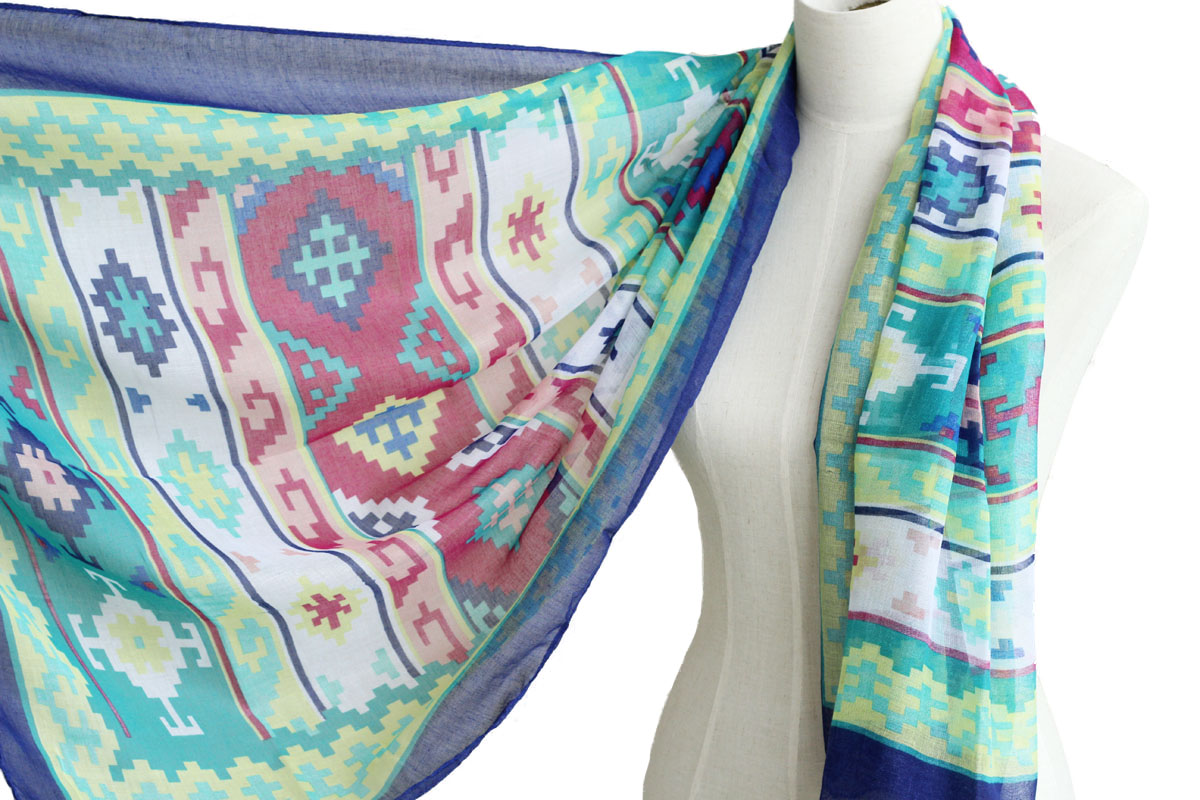 sheer cotton aztec scarf shawl wrap spring summer scarves
