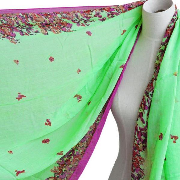bright green floral scarf butterfly cotton shawl oversize wrap spring summer scarves