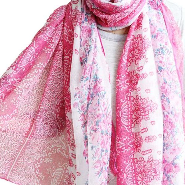 rose pink sheer cotton floral scarf shawl wrap spring summer oversize scarves