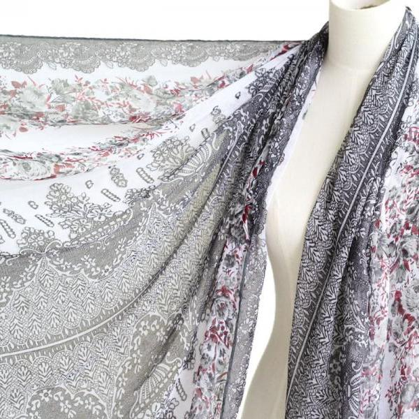 grey sheer cotton floral scarf shawl wrap spring summer oversize scarves